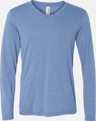 Blue Triblend (heather) Långärmade V-neck t-shirts i unisexmodell med reklamtryck