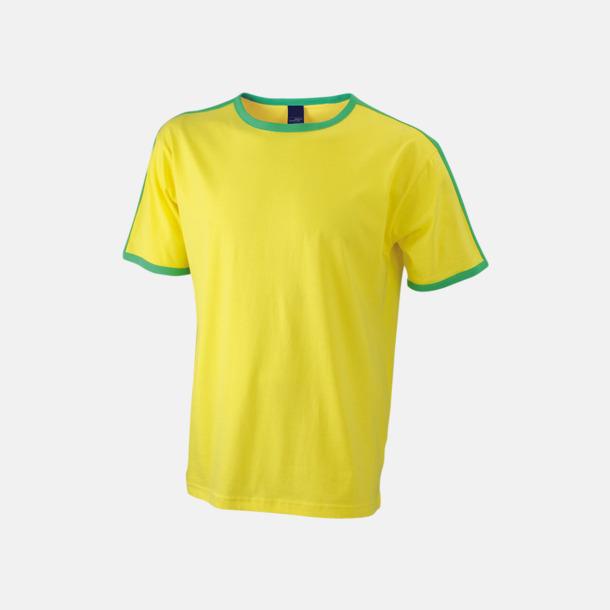 Gul/Frog (herr) T-shirts med kontrastfärger - med reklamtryck