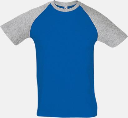Royal Blue/Grey Melange (herr) T-shirts i herr- och dammodell med kontrasterande färg - med reklamtryck