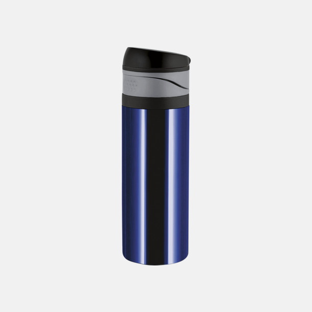 Safirblå 0,4 liters ståltermosmugg med reklamtryck