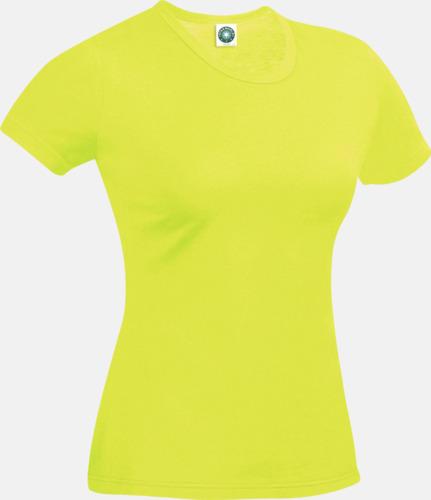 Floucerande Gul (dam) Funktions t-shirts i herr- & dammodell med reklamtryck