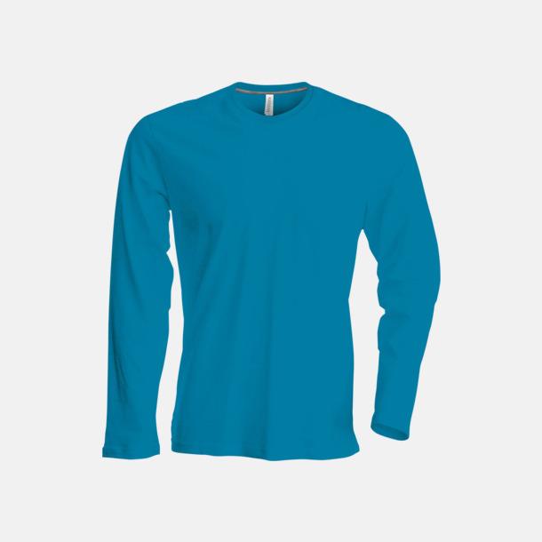Tropical Blue (crewneck, herr) Långärmad t-tröja med rundhals för herr och dam med reklamtryck