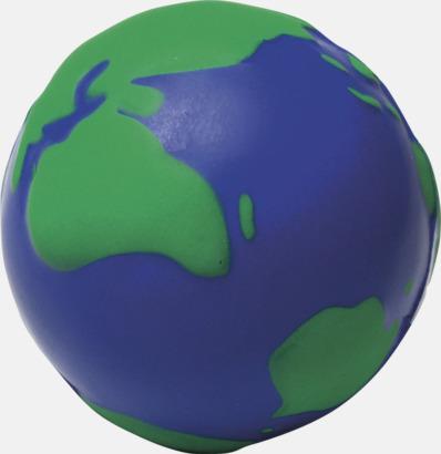 Blå / Grön Stressbollar med världsmotiv - med reklamtryck