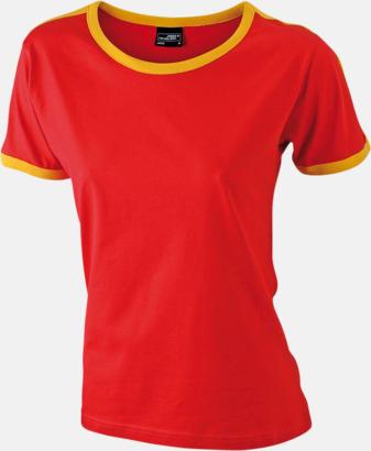 Röd/Gold Yellow (dam) T-shirts med kontrastfärger - med reklamtryck