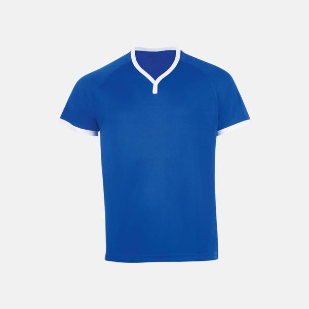 Royal Blue/Vit Kortärmade sporttröjor i vuxen- och barnstorlekar med reklamtryck