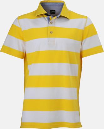 Sun Yellow/Vit (herr) Randiga pikéer i herr- & dammodell med reklamtryck