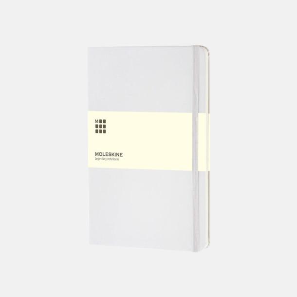 Vit (large) Moleskine-böcker med blanka sidor och hårt omslag - med reklamtryck