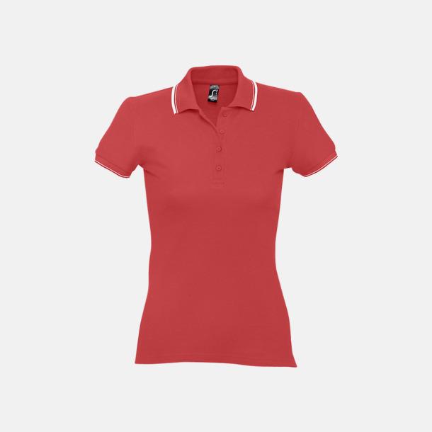 Röd/Vit (dam) Snygga pikétröjor för herr och dam