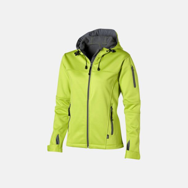 Mid Green/Grå  solid (dam) Soft-shell-jackor i herr- & dammodell med reklamtryck