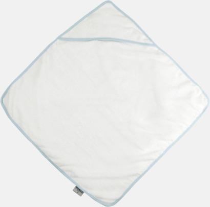 Vit/Blå Bebishandduk med huva - med brodyr