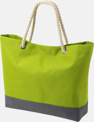 Ljusgrön/Grå Shoppingkassar med rephandtag - med reklamtryck