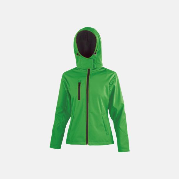 Vivid Green/Svart (dam) Hooded softshell-jackor i herr- & dammodell med reklamtryck