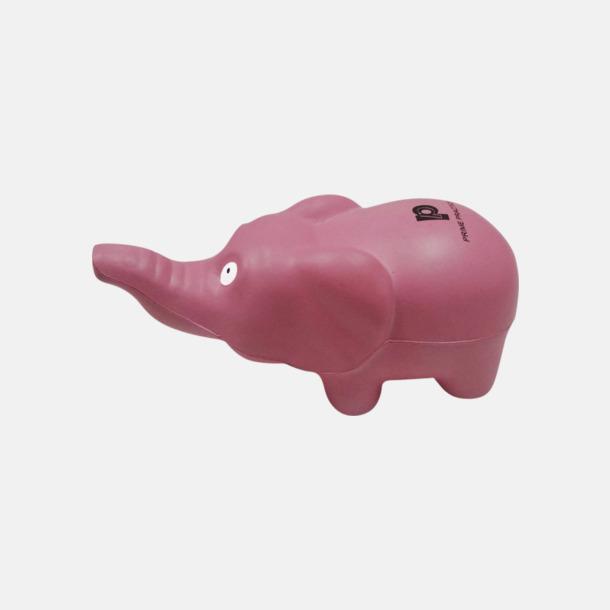 Rosa (standard) Stressbollar formade som elefanter - med reklamtryck