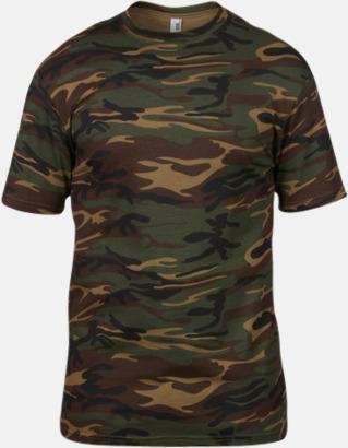 Camouflage (grön) T-shirts med militörmönster - med reklamtryck