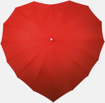 Röd Hjärtformade paraplyer med eget tryck
