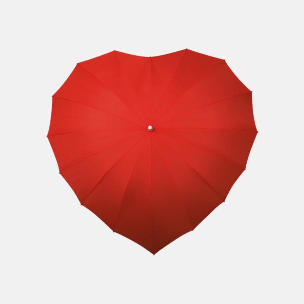 Röd (PMS 186C) Hjärtformade paraplyer med eget tryck