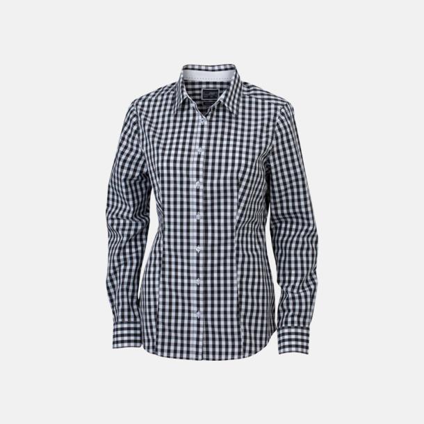 Svart/Vit (dam) Rutiga bomullsskjortor & -blusar med reklamtryck