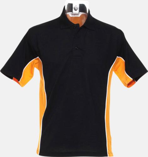 Svart/Orange/Vit Sportiga pikétröjor med reklamtryck eller -brodyr