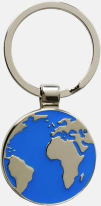 Silver / Blå Runda nyckelringar med världsmotiv med reklamlogga