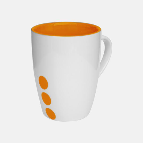 Orange (prickig) Stengodsmuggar med randig eller prickiga detaljer - med reklamtryck