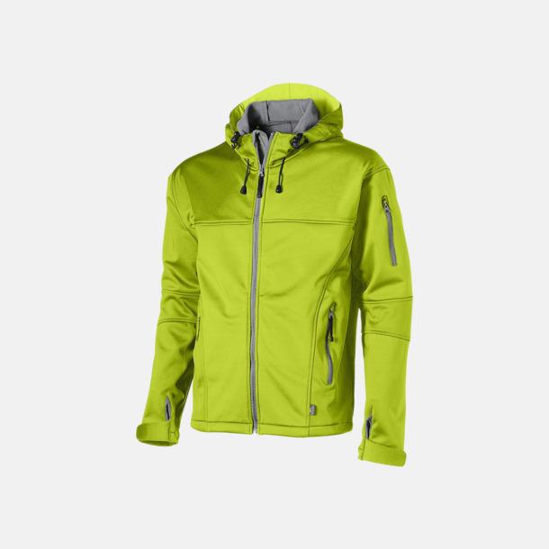 Mid Green/Grå  solid (herr) Soft-shell-jackor i herr- & dammodell med reklamtryck