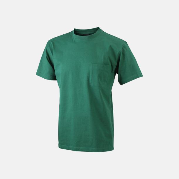 Mörkgrön T-shirts med bröstficka i matchande färg - med reklamtryck