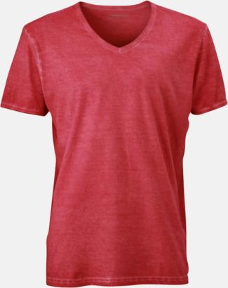 Röd (herr) Trendiga v-neck t-shirts i herr- och dammodell med reklamtryck