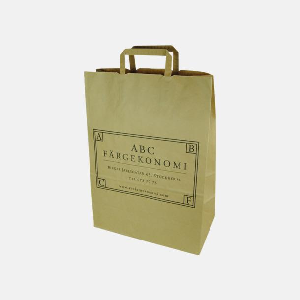 Brunt kraftpapper 100 gram Papperskassar med eget reklamtryck i klassisk matbutiksstorlek