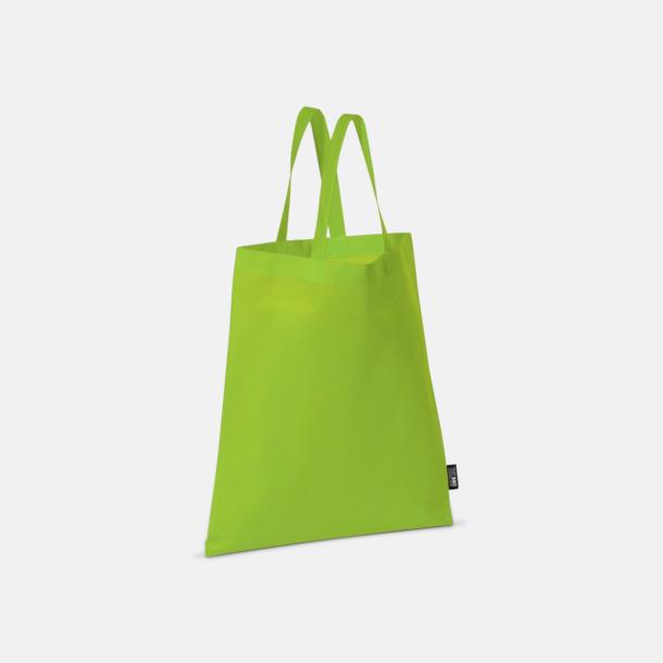 Ljusgrön (korta handtag) Billiga kassar med korta eller långa handtag - med reklamtryck