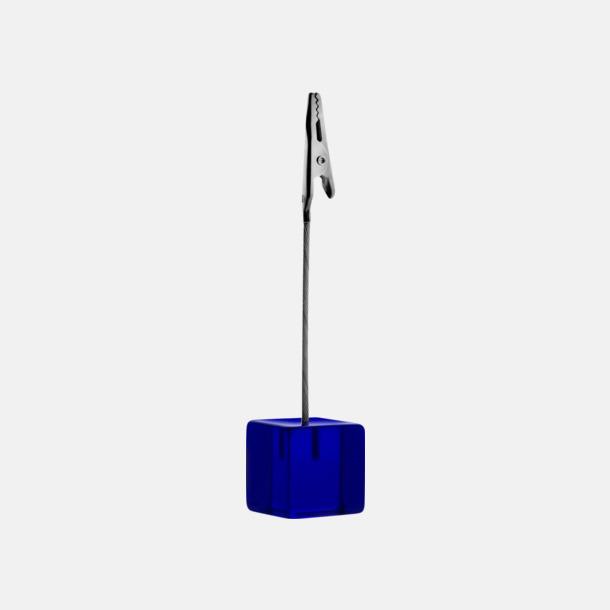 Mörkblå Memohållare i transparenta färger - med reklamtryck