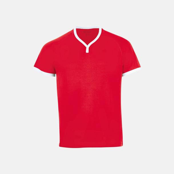 Röd/Vit Kortärmade sporttröjor i vuxen- och barnstorlekar med reklamtryck