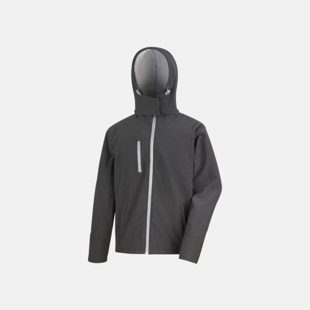 Svart/Grå (herr) Hooded softshell-jackor i herr- & dammodell med reklamtryck