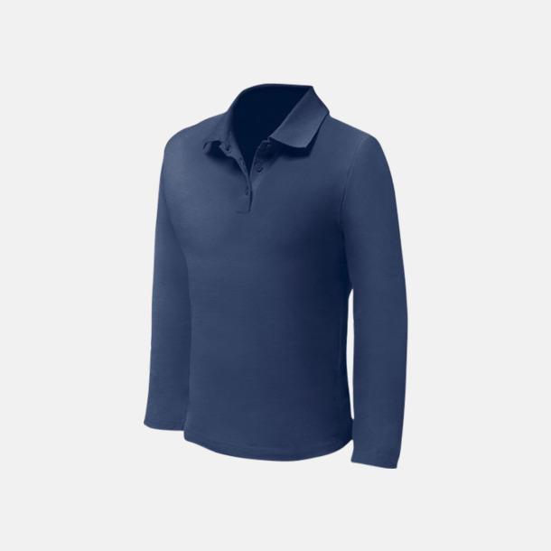 Deep Navy (herr) Långärmade pikétröjor till lägre priser med reklamtryck