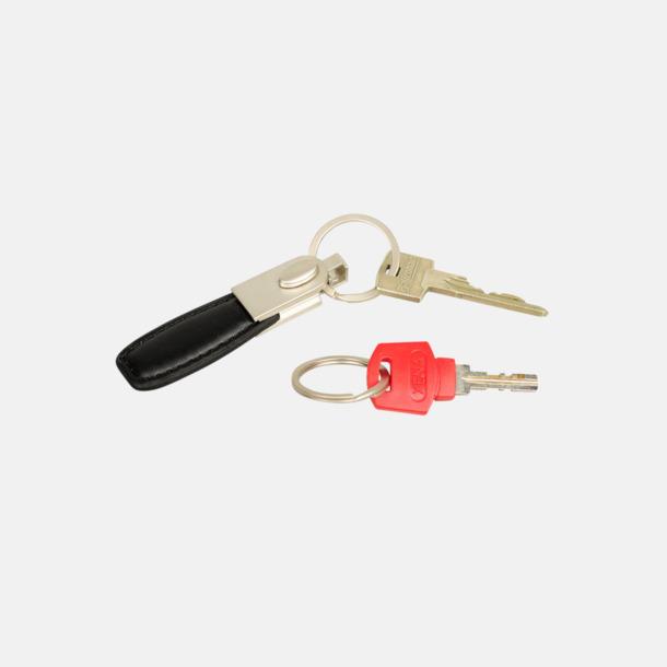 Dubbel nyckelring av metall och läderimitation med lasergravyr