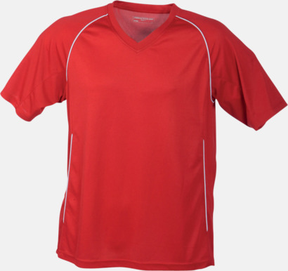Röd T-shirt i funktionsmaterial med eget tryck