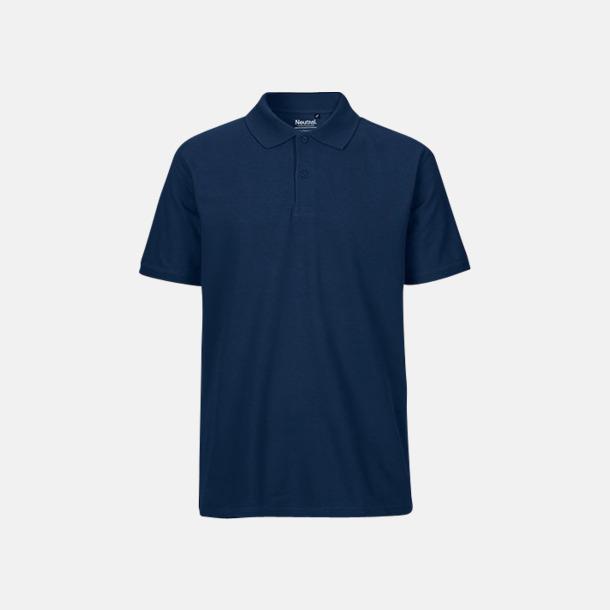 Marinblå (herr) Fairtrademärkta pikétröjor i herr- och dammodeller med brodyr