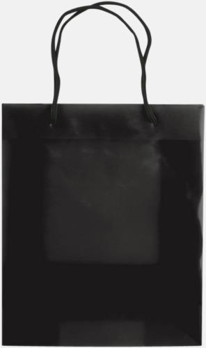 Transparent Svart (medium) Butikskassar i 2 storlekar med reklamtryck