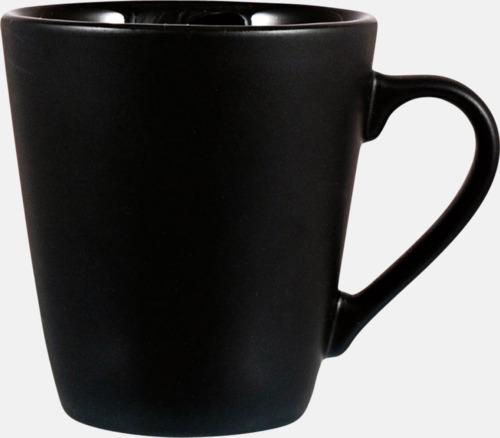 Svart Kaffemuggar i stengodsmuggar med reklamtryck