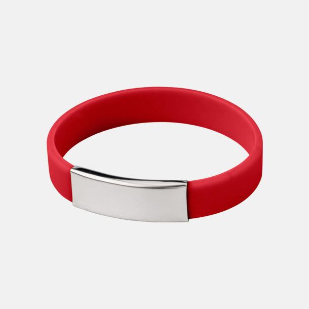 Röd Silikonarmband med metallplatta - med reklamtryck
