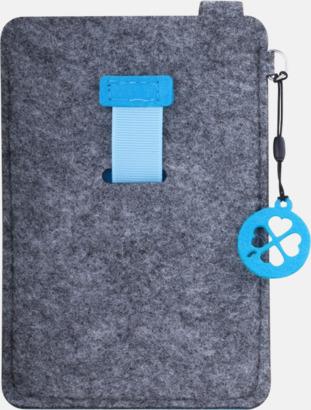 Grå/Blå (stor) Mobilfodral i filt med reklamtryck
