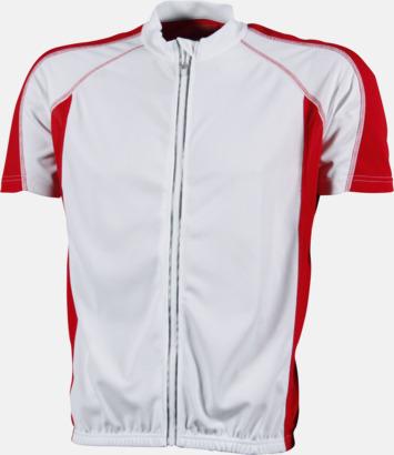 Vit/Röd (herr) Herr- och damcykeltröjor med hel dragkedja - med reklamtryck