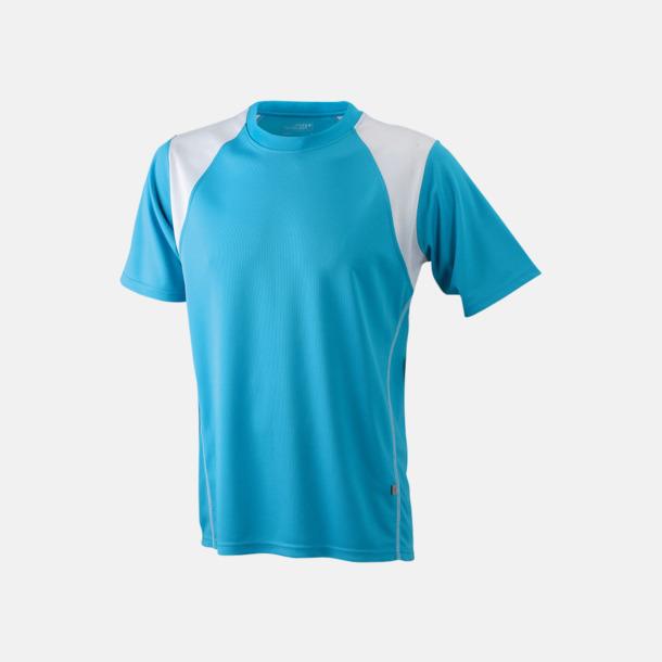 Turkos/Vit Flerfärgade tränings t-shirts i herrmodell med reklamtryck