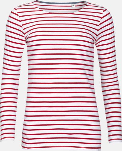 Vit/Röd (dam) Randiga, långärmade herr- & dam tröjor med reklamtryck