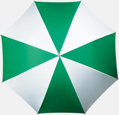 Grön / Vit Randigt paraply med ergonomiskt trähandtag