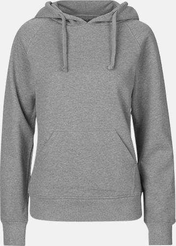 Sports grey (dam) Ekologiska huvtröjor för herr och dam med tryck