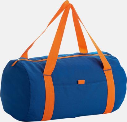 Royal Blue/Orange Trendiga rese- och träningsväskor med reklamtryck