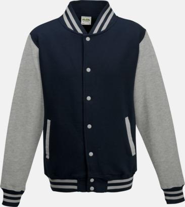 Oxford Navy/Heather Grey Trendiga varsity-jackor med tryck