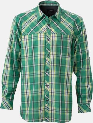 Grön/Acid Yellow (herr) Rutiga dam- och herrskjortor med reklamtryck