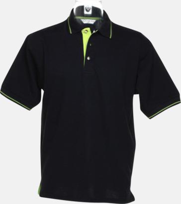 Svart/Limegrön (herr) Tvåfärgade pikétröjor i herr- och dammodell med reklamtryck
