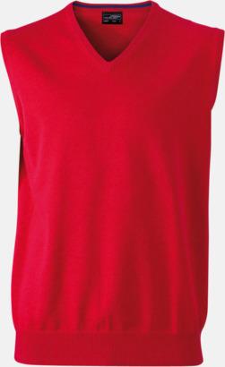 Röd V-ringad pullover med eget tryck